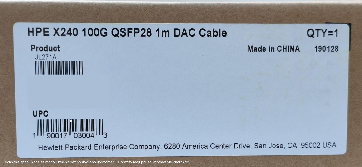HPE X240 100G QSFP28 1m DAC Cable